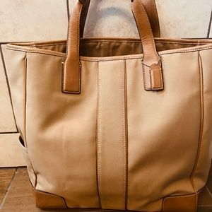 Large Canvas and Leather Coach Tote Bag